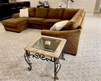 brown sectional sofa, couch glass iron and marble coffee table and end tables