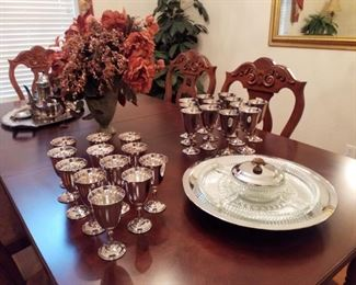 Jamestown by Reed & Barton Silverplate Goblets sets of 12, Kromex Vintage Lazy Susan Server
