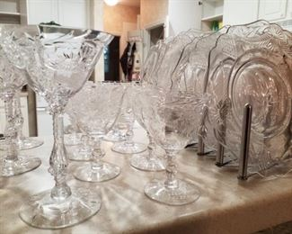 Vintage Etched Stemware with matching Plates