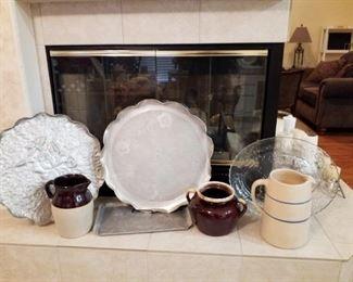 Aluminum platters, vintage kitchenware