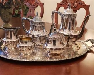 1930s Community Coronation Silver Plate Tea and Coffee service on Henley Silverplate Tray