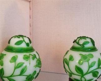 Green overlay Peking glass ginger jars