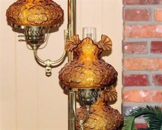 Vintage Mid Century Modern Tension Pole Floor Lamp Fenton Poppy Glass Lamps with Ruffle Edge Amber Glass - Works!