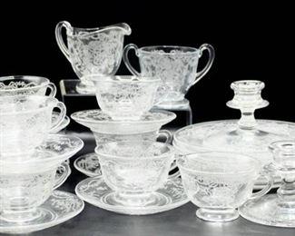 27 piece Fostoria Romance Etched Crystal Lot