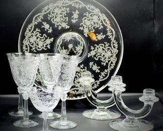 8 piece Fostoria Romance Etched Crystal Lot
