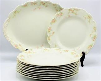 11 piece Lot Antique Johnson Bros England Early 1900's China Plates and Platter Pattern:  The Baroda
