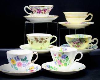 Vintage Fine China Demitasse Tea Cups and Saucers - 6 Sets
