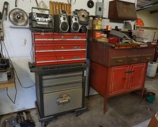 #9-- Tool boxes, tool carts, storage cabinet, lathe tools behind the radio
