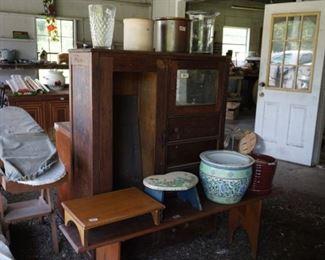 #13-- Old oak chifforobe, foot stool, bench, small child's stool, large garden pot, brown stoneware flower pot, 2 stoneware crocks, glass vases