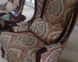 pair country french large wing back walnut chairs $1,600 pair