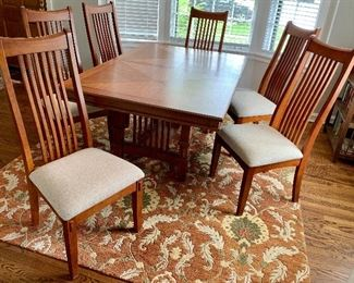 "Mission Style Rectangle Dining Room Table w/ 20"" leaf & 6 Upright Chairs $395"