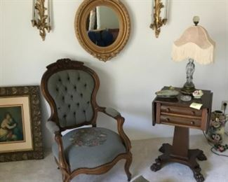 Parlor furniture, sconces and mirror - Empire era work table not for sale