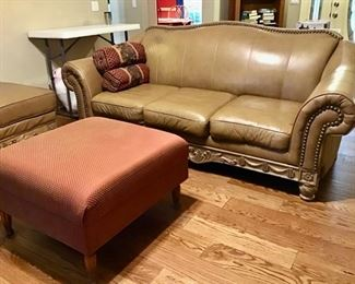 Ashley Leather Sofa, Ottoman