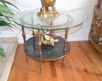 """$200 both Vintage Brass / Glass Coffee Table with Matching End Table  3ft Round x 16""""H End Table 26""""Round x 21""""H"""