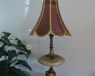 """$180 both Antique Large Italian Table Lamps with Shade 52""""H with Shade  Round piece in the middle made of glass"""