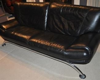 ANOTHER VIEW OF THE GREAT SOFA WITH WONDERFUL CHROME TUBULAR BASE!!