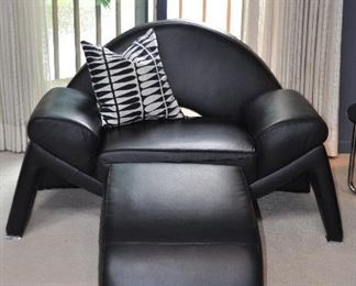 """CONTEMPORARY BLACK LEATHER CLUB CHAIR WITH OTTOMAN (2 AVAILABLE), CHAIR: 60""""W X 35""""D X 33""""H, OTTOMAN: 22""""W X 26""""D X 16""""H. OUR PRICE $695.00"""