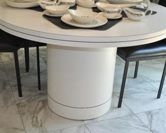 "WHITE 48"" ROUND FORMICA PEDESTAL DINING TABLE IN EXCELLENT CONDITION. OUR PRICE $350.00"