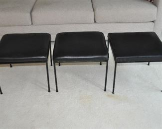 "SET OF 3 PAUL MCCOBB MID-CENTURY UPHOLSTERED BLACK VINYL STOOLS WITH WROUGHT IRON BASES, 16"" SQUARE, 14"" HEIGHT OUR PRICE $895 FOR THE SET."
