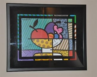 """ABSTRACT ROMERO BRITTO DOUBLE SIGNED, 30"""" X 25"""". OUR PRICE"""