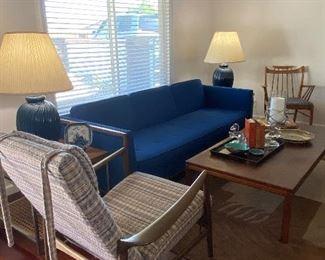 Mid-Century blue sofa