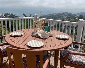 Wood patio set