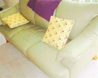 White/Silver leather sofa with teak feet..excellent condition