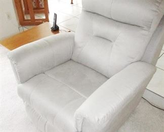 White/Silver leather sofa chair