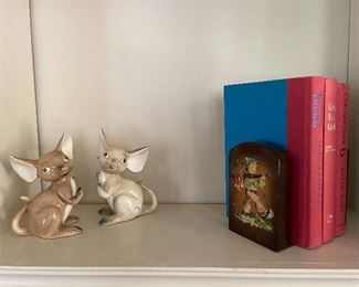Vintage mice bookends and Hummel bookends.