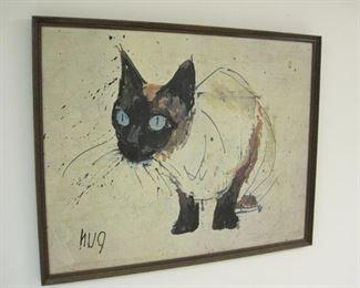 1950s Beautiful MCM Siamese Cat Print Giclee by Mid Mod Artist Hug