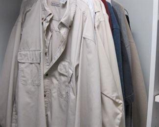 "Mens clothing Size Large and Xtra large, 34/36 & 32"" length"