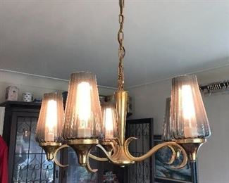 MCM brass & smoke glass chandelier