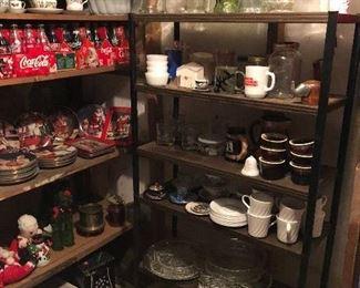 vintage glassware, plates, pottery, more Coke bottles