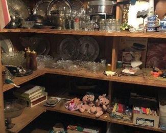 silver plate, glassware, kitchen