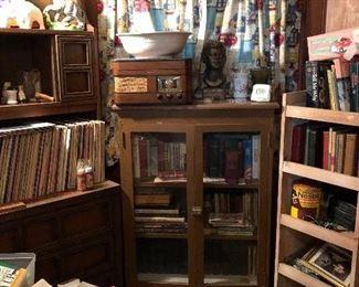 vinyls, vintage books, vintage Crosley radio