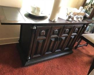 sideboard with fold down ends - repurpose for a great bar piece
