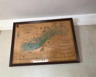 vintage Green Lake WI framed map