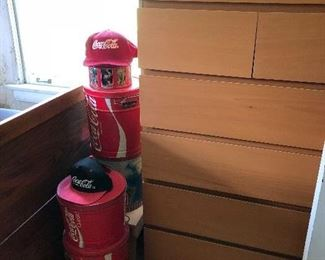 vintage Coke tins & hats
