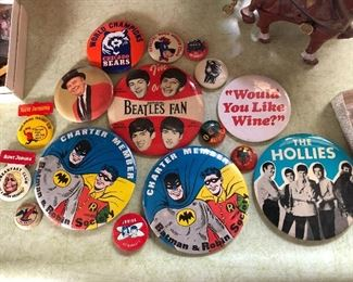 collectible pinbacks, this is a small selection of what we have
