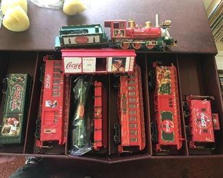 Vintage Hawthorne Village Bachmann Coca Cola Holiday Express On30 scale train set. New in package in its original cardboard drawer box