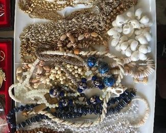 costume jewelry, shells, beads,