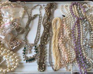 vintage costume jewelry pearls, rhinestones, beads