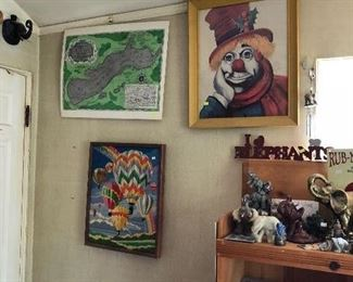 signed Red Skelton clown, vintage hot air balloon yarn picture
