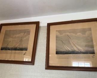 vintage framed under glass sailboat / nautical art