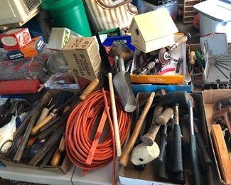 General garage tools including vintage