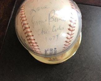 Ernie Banks autographed baseball 1977