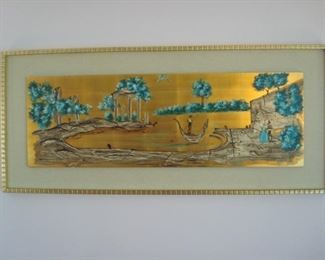 "Living Room:  This signed art is quite interesting with vivid turquoise and gold colors.  The scene is painted on a wood insert but surrounded with a linen-look mat and gold block design frame.  It measures 57"" wide x 25"" tall.  The next photo shows the artist's signature."