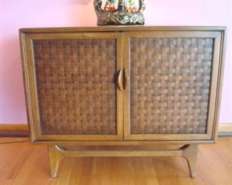 "Living Room:  This Mid-Century Modern LANE cabinet is also from the ""Perception"" line.  It has two doors with two interior shelves.  It measures 36"" wide x 19"" deep x 30-l/2"" tall."