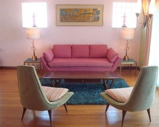 Living Room:  This is an overview of the fabulous Mid-Century Modern living room.  The client is the second owner of this 1953-built house and many of the furnishings are original to the home.  Closer photos of each item and its details follow.
