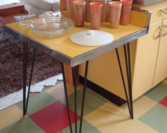 Kitchen:  A vintage yellow top/chrome table with hair pin legs is for sale. The items on top are also priced, including the vintage plastic Thermo-Temp tumblers and ice bucket.
